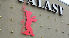 Large Berlinale film festival bear logo, Zoo Palast theater, Berlin, Germany Stock Footage