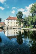 Mill house is mirroring in the water level of the lake, Tapolca, Hungary - stock photo