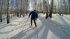 Slow Motion Woman Cross Country Skiing In Winter Sport HD Stock Footage