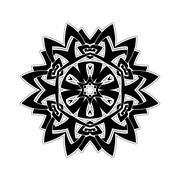 Ornate mandala. Gothic lace tattoo. Celtic weave with sharp corners - stock illustration