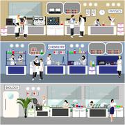 Scientist working in laboratory vector illustration. Science lab interior - stock illustration