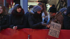 Fans with Meryl Streep Selfie sign, Berlinale film festival red carpet, Berlin Stock Footage