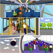 Passengers public transport concept vector banners set. People in bus, train and Stock Illustration