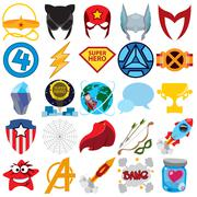 Vector set of superheroes and superman icons. - stock illustration
