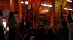 Prayers inside of Buddhist Temple - Myanmar Stock Footage