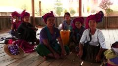 Group portrait of women with children indoors2 - Myanmar Stock Footage