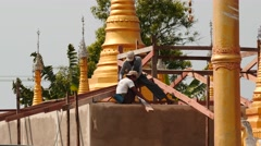 New Pagoda building closeup process in Myanmar village Stock Footage