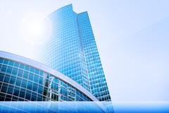 Skyscrapers with sun Stock Illustration