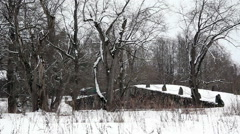 Panorama historical boulder bridge over a riverbed - stock footage