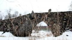 Historical boulder bridge over a riverbed Stock Footage