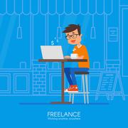 Male freelancer working remotely from his desk. Vector illustration in flat Stock Illustration