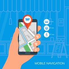Mobile navigation concept vector illustration. Hand holding smartphone with gps - stock illustration