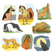 Vector set of wild and home animals. Hand drawn cartoon illustration. Horse, dog - stock illustration