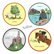 Vector set of hobbies, travel, sport, fishing, nature. Hand drawn stickers - stock illustration