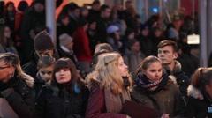 Fans wait, Berlinale film festival red carpet closing ceremony, Berlin, Germany Stock Footage