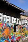 GREIFSWALD, GERMANY - FEBRUARY 29 2016 : Abandoned building with graffiti - stock photo