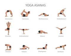 Vector set of yoga poses isolated on white background. Human body stretching Stock Illustration