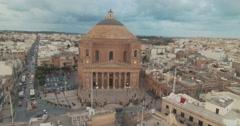 Aerial Shot - Rotunda Church in Mosta Malta Stock Footage