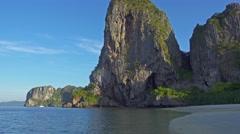 Tropical beach and rocks, Krabi, Thailand 4k Stock Footage