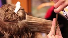 Women's Hair Cutting Scissors, Hair Salon Stock Footage