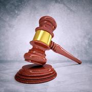 Wooden judge gavel and soundboard - stock illustration