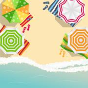 Summer Time Background. Sunny Beach in Flat Design Style - stock illustration