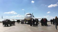 Ryanair flight unloading passengers in Valencia Spain 4k Stock Footage