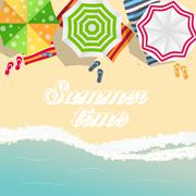 Summer Time Background. Sunny Beach in Flat Design Style Stock Illustration