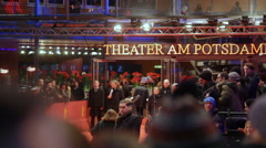 People walk into theater, Berlinale film festival closing ceremony, red carpet Stock Footage