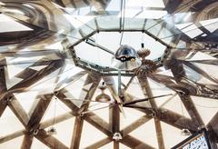 Stock Photo of Futuristic ceiling with lighting, indoor exhibition scene