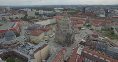 Aerial drone footage of Dresden Frauenkirche amidst city, Saxony, Germany Stock Footage