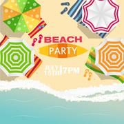 Beach Summer Party Poster Vector Illustration - stock illustration