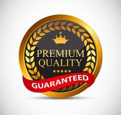 Gold Premium Quality Label Vector Illustration Stock Illustration