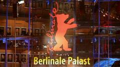 Berlinale Palast red bear logo, Potsdamer Platz theater, Berlin, Germany - stock footage