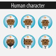 Set men African American character sailor Stock Illustration