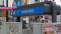 Adenauerplatz U-bahn underground subway station sign, Berlin, Germany Stock Footage
