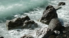 Close-Up of Storm Surf With Black Rocks. 4k Stock Footage