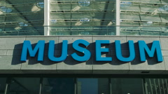 Blue Street Sign Museum Stock Footage