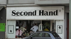 Second hand vintage clothes shop sign, Berlin, Germany - stock footage