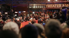 Dieter Kosslick, Meryl Streep and jury, 66th Berlinale film festival red carpet - stock footage