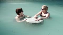 Women in Sultaniye Natural Mud Bathes Hot Spring. 4K. Stock Footage