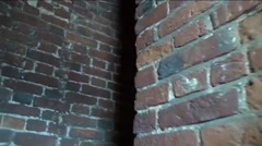 A steep ascent on the old brick corridor - stock footage