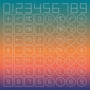 Set of mathematical symbols, vector illustration. - stock illustration