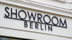 Showroom Berlin sign in Kurfürstendamm Ku'damm shopping street, Berlin - stock footage