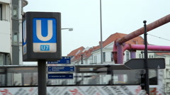 U-bahn underdroung subway station sign, U7, Berlin, Germany Stock Footage