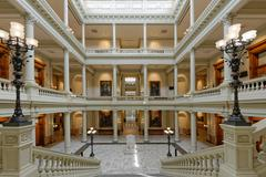 Georgia State Capitol Building Interior Atrium from Grand Staircase (Wide) - stock photo