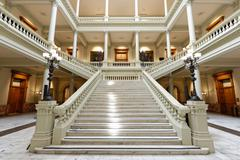 Georgia State Capitol Building Interior Facing Grand Staircase - stock photo