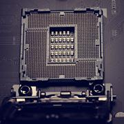The connector on the motherboard to install the CPU. - stock photo