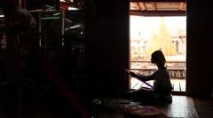 Paduang tribe of Myanmar long neck women doing work silhouette Stock Footage