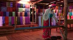 Paduang woman of Myanmar long neck tribe doing work Stock Footage